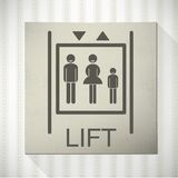 Lift. Sign with family stick figures and realistic wallpaper and shading on background Royalty Free Stock Photography
