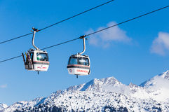 The lift in the ski resort of Courchevel, Alps Stock Photos
