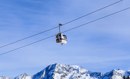 The lift in the ski resort of Courchevel, Alps Royalty Free Stock Image
