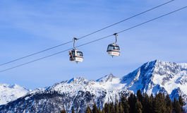 The lift in the ski resort of Courchevel, Alps Royalty Free Stock Images