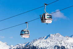 The lift in the ski resort of Courchevel, Alps Royalty Free Stock Photography