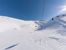 Lift in ski resort in Kalavrita, Greece stock photos