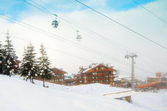 Lift at ski resort. Winter Alpine village at the mountains Royalty Free Stock Photography