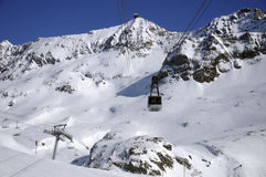 Lift to the top. The lift to the very top of the Alpe d'Huez ski resort. France stock photo
