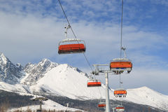 Lift to the top of the mountain. At ski resort stock images