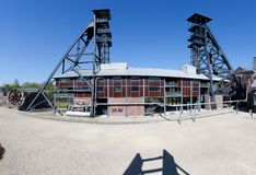 Bois du Cazier, lift tower coal mine, Marcinelle, Charleroi, Belgium. Lift tower and factory hall of the former industrial coal mining site of Bois du Cazier in stock image