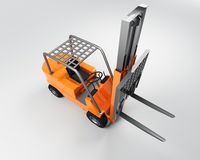 Lift truck. Orange liftruck shot from above on a neutral background royalty free illustration