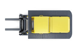 Lift truck top view isolated on white background. 3d rendering Stock Image