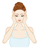 Lift up - Skin Care Woman - Closed eyes and both hands Stock Photo