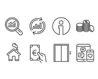 Lift, Update data and Banking money icons. Data analysis, Finance and Social media signs. Set of Lift, Update data and Banking money icons. Data analysis Royalty Free Stock Images