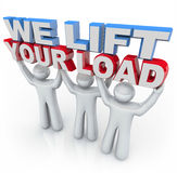 We Lift Your Load - People Holding Words stock illustration