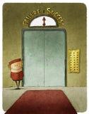 Liftboy nell'elevatore illustrazione di stock