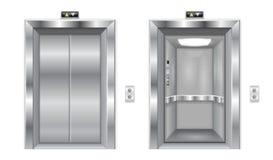Liftdeuren Gesloten metaal en open deuren Royalty-vrije Stock Fotografie