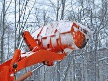 Lifted bucket of snowplow stock photos