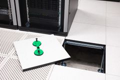 Lifted Floor Tile With Vacuum Suction Cups In Datacenter Royalty Free Stock Image