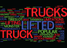 The Lifted Truck Experience Fun For Everyone Text Background  Word Cloud Concept. THE LIFTED TRUCK EXPERIENCE FUN FOR EVERYONE Text Background Word Cloud Concept Royalty Free Stock Photography