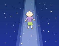 Lifted Up. One boy lifted up to the dark starry sky, looking ecstatic and marveled vector illustration