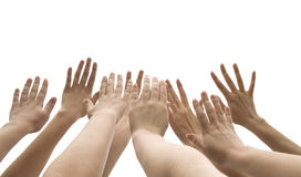 Lifted up hands Stock Photography