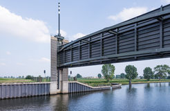 Lifted water stop gate from close. This storm surge barrier is a hydraulic engineering work in the very large Dutch Delta Works project Royalty Free Stock Photography