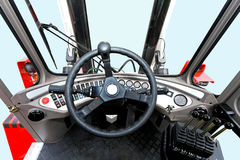 Lifter commands. Driver view from fork lifter vehicle cabin Stock Photo