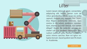 Lifter Conceptual Banner. Set of great flat design illustration concepts for cargo, delivery, industry, transport and much more Stock Images