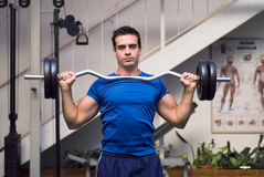 Lifting Barbell Weights. Male weightlifter, looking straight into camera, holding barbell weights Stock Image