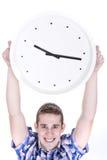 Lifting a big clock Royalty Free Stock Image