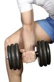 Lifting big dumbbells. Man lifting big dumbbells isolated on white stock image