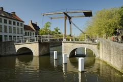 A lifting bridge over a river in Brugge in Belgium Royalty Free Stock Photo