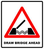 Lifting bridge warning sign icon in flat style on a white background Stock Photos