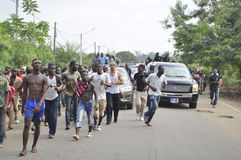 Lifting and burial of the mother of the former president of the Ivory Coast, Laurent Gbagbo Stock Photography