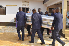 Lifting and burial of the mother of the former president of the Ivory Coast, Laurent Gbagbo Royalty Free Stock Photos