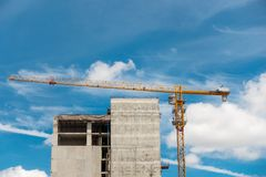 Lifting crane in construction site, Tower crane, Under construct Stock Photo