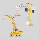 Lifting crane doing heavy lifting. Tower and harbor lifters. Royalty Free Stock Images