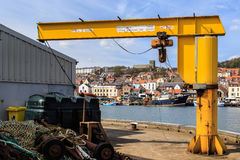 Lifting crane in the fishing harbour. Scarborough Royalty Free Stock Images