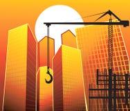 Lifting crane near buildings Royalty Free Stock Photo