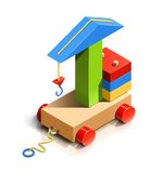 Lifting crane, wooden toy Stock Photography