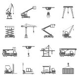 Lifting Equipment Icons. Lifting equipment and heavy industrial machines black icons set isolated vector illustration vector illustration