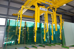 LIFTING EQUIPMENTIN A WAREHOUSE. LIFTING EQUIPMENT IN A YELLOW WAREHOUSE royalty free stock photo