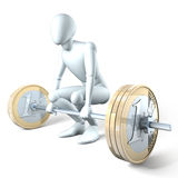 Lifting euro coins. Man weight-lifting dumbell of money, on white background Stock Photography