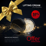 Lifting facial cream ads poster template. Royalty Free Stock Photo