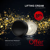 Lifting facial cream ads poster template. Stock Images