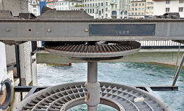 Lifting Gear. Detail of Lifting Gear of Bridge over the River Reuss in Lucerne, Switzerland Royalty Free Stock Photography