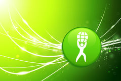 Lifting Globe Button on Green Abstract Light Background Royalty Free Stock Images