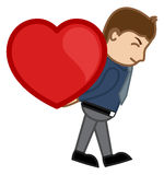 Lifting Heart Cartoon Character Man Stock Images
