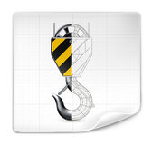Lifting hook drawing. On graph paper royalty free illustration