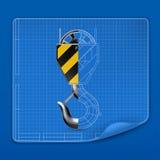 Lifting hook drawing blueprint. Computer illustration on blue background royalty free illustration