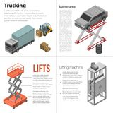 Lifting machine banner set, isometric style. Lifting machine banner set. Isometric set of lifting machine vector banner for web design royalty free illustration