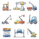 Lifting machine icons set, cartoon style. Lifting machine equipment icons set. Cartoon illustration of 9 lifting machine equipment cargo vector icons for web stock illustration