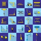 Lifting machine icons set, flat style. Lifting machine equipment icons set. Flat illustration of 25 lifting machine equipment cargo vector icons for web stock illustration